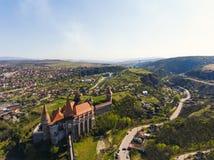 Corvin Castle from Hunedoara. A beautifull drone shot with Corvin Castle from Hunedoara Stock Images