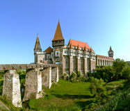 Corvin Castle in Hunedoara, Romania. The Corvin Castle or Corvinesti Castle is situated on a higher hill in Hunedoara, Romania. The construction of this castle Royalty Free Stock Photography