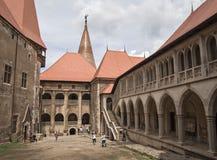 Corvin Castle in Hunedoara, Romania. HUNEDOARA, ROMANIA JUNE 20, 2015. Inner Courtyard of Corvin Castle (Hunyadi Castle ) in Hunedoara, Romania Stock Photography