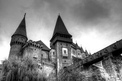 Corvin Castle (Hunyad Cstle, Hunedoara). The Corvin Castle or Corvinesti Castle is situated on a higher hill in Hunedoara, Romania. The construction of this Stock Image