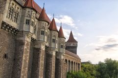 The Corvin Castle Hunyadi Castle or Hunedoara Castle, Gothic-Renaissance castle, Hunedoara, Romania. Beautiful view with wooden royalty free stock photo