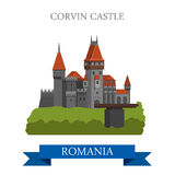 Corvin Castle Romania Europe flat vector attraction landmark Stock Images