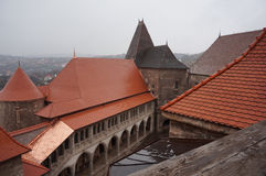 Corvin Castle roof stock photography