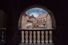 Corvin Huniazilor Castle from Hunedoara, Romania. Yard of Corvin Huniazilor Castle from Hunedoara from Hunedoara, Romania Stock Images