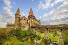 Corvin`s Hunyadi Castle in Hunedoara, Romania. Corvin`s Hunyadi Castle. A historic monument and major tourist attraction in Hunedoara, Romania Stock Photos