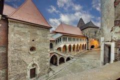 Corvin`s Hunyadi Castle in Hunedoara, Romania. Corvin`s Hunyadi Castle`s interior court. A historic monument and major tourist attraction in Hunedoara, Romania Stock Photography