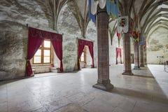 Corvin`s Hunyadi Castle in Hunedoara, Romania. Corvin`s Hunyadi Castle`s interior, a historic monument and major tourist attraction in Hunedoara, Romania Stock Photos