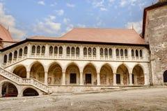 Corvin`s Hunyadi Castle in Hunedoara, Romania. Corvin`s Hunyadi Castle`s interior court. A historic monument and major tourist attraction in Hunedoara, Romania Royalty Free Stock Image