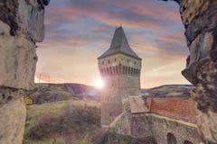 Corvin`s Hunyadi Castle in Hunedoara, Romania. Corvin`s Hunyadi Castle`s Neboisa tower. A historic monument and major tourist attraction in Hunedoara, Romania Royalty Free Stock Image