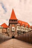 Corvin slott en spektakulär medeltida slott, Rumänien Fotografering för Bildbyråer