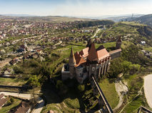 Corvin slott från Hunedoara Arkivbilder