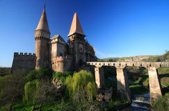 Corvinesti Castle. 14 th Century Gothic castle, built on old Roman fortifications is one of the most impressive fortresses in Eastern Europe. The castle was Stock Image