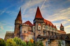 Corvinesti Castle, Romania. The Corvinesti castle also known as the Hunyad castle, is a Gothic-Renaissance castle in Hunedoara (Transylvania), Romania. Tourists Stock Photo