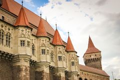 Corvinilor Castle small towers and details. Corvinilor Castle small towers in Hunedoara city, Hunedoara County, Romania Stock Photos