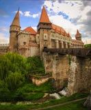 Corvinilor Castle and the wood bridge. In Hunedoara city, Hunedoara County, Romania Royalty Free Stock Images