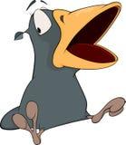 Corvo cinzento com um bico aberto. Desenhos animados Foto de Stock Royalty Free