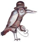 Raven con l'orologio da tasca Immagine Stock