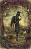Corvo in foresta illustrazione di stock