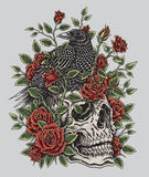 Corvo, rosas e projeto da tatuagem do crânio Imagens de Stock Royalty Free