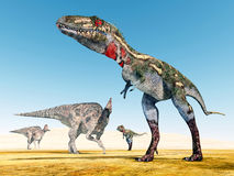 Corythosaurus and Nanotyrannus Stock Photos