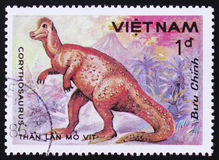MOSCOW, RUSSIA - FEBRUARY 12, 2017: A stamp printed in Vietnam shows Corythosaurus, series devoted to prehistoric animals, circa. 1984 stock images