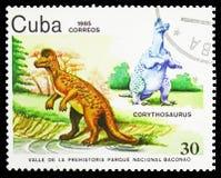 Corythosaurus, valle prehistórico en serie del parque nacional de Baconao, circa 1985 stock de ilustración