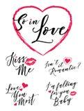 Così nell'insieme romanzesco dell'iscrizione di tipografia di vettore di amore royalty illustrazione gratis
