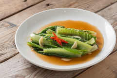 Cos lettuce with Oyster sauce. Stock Image