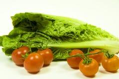 cos lettuce and vine tomato Stock Image