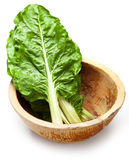 Cos lettuce in wooden dish Stock Photo