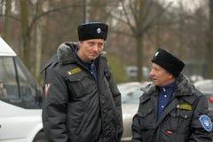 Cosacos en el uniforme del invierno Imágenes de archivo libres de regalías