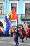 Cosacos rusos en desfile de la victoria Fotografía de archivo libre de regalías