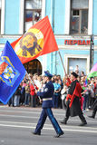 Cosacos rusos en desfile de la victoria Fotografía de archivo