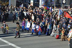 Cosacos rusos en desfile de la victoria Fotos de archivo libres de regalías