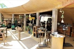 Cosanti Paolo Soleri Studios, Paradise Valley Scottsdale Arizona, United States. Foundry used by workers to pour brass bells at a Cosanti, Paolo Soleri Studios Royalty Free Stock Photos