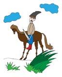 Cosaque coloré sur des silhouettes d'un cheval Photos stock