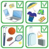 Cosas de los objetos personales, artículos, mercancías Aislante del ejemplo Foto de archivo