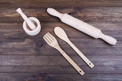 Cosas de madera de la cocina Foto de archivo libre de regalías