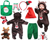 Cosas del bebé de Papá Noel para la Navidad foto de archivo libre de regalías