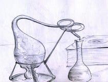 Cosas del laboratorio de la alquimia ilustración del vector