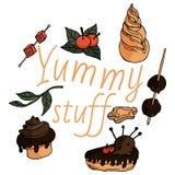 Cosas deliciosas en estilo infantil stock de ilustración