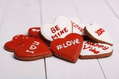 Cosas dulces para el día de tarjeta del día de San Valentín Cookies Foto de archivo
