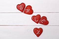 Cosas dulces para el día de tarjeta del día de San Valentín Cookies Venta Persent imagen de archivo