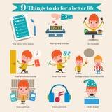 9 cosas a hacer por una mejor vida stock de ilustración