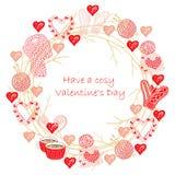 Cosas hechas punto lindas y marco redondo de las tazas de café para las tarjetas del día de San Valentín o el diseño de tarjeta d fotos de archivo