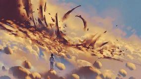 Cosas misteriosas en las nubes ilustración del vector