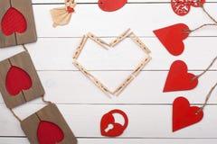 Cosas para el día de tarjeta del día de San Valentín feliz del St imagenes de archivo