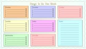 Cosas para hacer la lista colores de esta semana 7 imagenes de archivo
