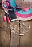 Cosas para la mujer joven de la playa Fotos de archivo