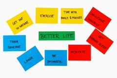 Cosas para un mejor concepto de la vida Fotos de archivo libres de regalías